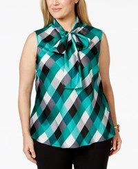 Nine West Plus Size Sleeveless Tie Neck Printed Blouse