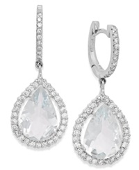 Macy's Aquamarine 6 Ct. T.W. And Diamond 3 4 Ct. T.W. Earrings In 14K White Gold Blue