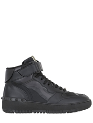 Valentino Rock Be Leather And Canvas Hi Top Sneakers Black