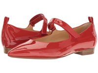 A. Testoni Pointed Toe Strapped Flat Red