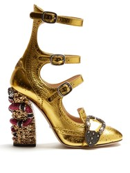 Gucci Queercore Crystal Embellished Block Heel Pumps Gold