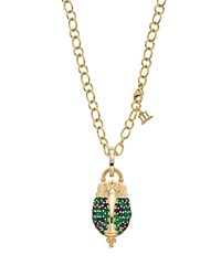 Temple St. Clair 18K Yellow Gold Scarab Pendant With Sapphire Emerald And Diamonds Multi Gold
