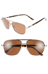 Ted Baker 58Mm Polarized Navigator Sunglasses Gold