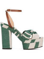 Castaner Patterned Platform Sandals Women Leather Canvas Rubber 36 Green