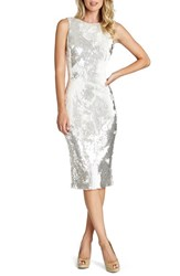 Women's Dress The Population 'Audrey' Sequin Body Con Dress Mirrored White