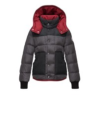 Moncler Contrast Trim Puffer Coat Charcoal Grey