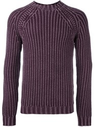 Tod's Ribbed Raglan Jumper Pink And Purple