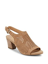 Franco Sarto Monaco Perforated Slingback Sandals Dark Sand