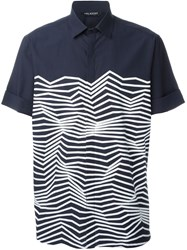 Neil Barrett Zig Zag Print Shirt Blue