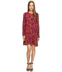 Manila Grace Printed Long Sleeve Dress Red Fuchsia