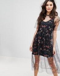 Mango Floral Embroidered Mesh Dress Black