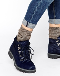Bronx Chunky Hiker Leather Ankle Boots 1142Darkblue