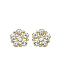 Temple St. Clair 18K Daisy Earrings With Rose Cut White Sapphires White Gold