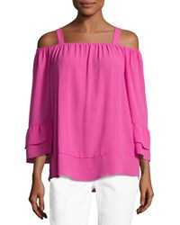 Neiman Marcus Off The Shoulder Crepe Top W Tank Straps Pink