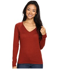 Smartwool Granite Falls V Neck Top Moab Rust Heather Women's Long Sleeve Pullover Red