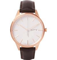Uniform Wares C40 Rose Gold Pvd Plated Stainless Steel And Leather Watch White