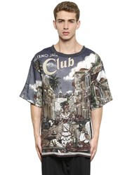 Dolce And Gabbana Palermo Jazz Printed Linen T Shirt