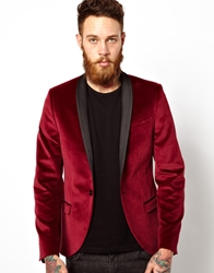 Noose And Monkey Velvet Blazer Burgundy