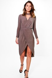 Boohoo Choker Detail Wrap Dress Mocha