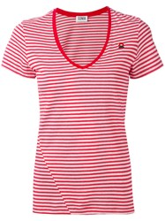 Sonia Rykiel By V Neck Striped T Shirt Women Cotton S Red