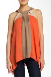 Ryu Colorblock Halter Blouse Orange