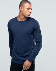 Jack And Jones Knitted Crew Jumper With Arm Badge Navy