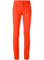 Class Roberto Cavalli Slim Fit Tailored Trousers Yellow Orange