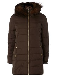 Dorothy Perkins Faux Fur Trim Hooded Longline Puffa With Front Zi Brown