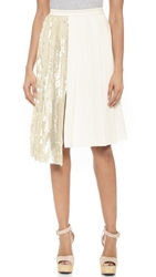 Whistles Asymmetrical Sequin Pleat Skirt White