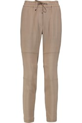 Brunello Cucinelli Wool Blend Crepe Tapered Pants Tan