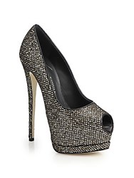 Giuseppe Zanotti Glittered Mesh Peep Toe Pumps Black Gold