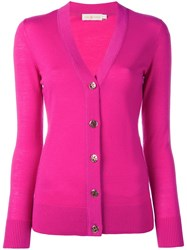 Tory Burch V Neck Cardigan Pink Purple