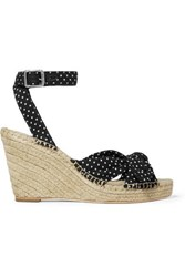 641b77712bd Tessa Knotted Polka Dot Cotton Espadrille Wedge Sandals Black