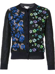 Oscar De La Renta Embroidered Flowers Button Up Cardigan Blue