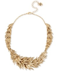 Betsey Johnson Gold Tone Crystal Feather Statement Necklace