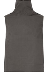 Rick Owens Cotton Poplin Turtleneck Top Dark Gray