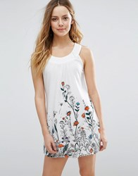 Jasmine Shift Dress With Floral Border Print White