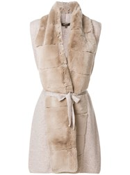 N.Peal Long Fur Placket Cashmere Gilet Nude And Neutrals