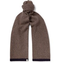 Mulberry Houndstooth Wool Scarf Navy