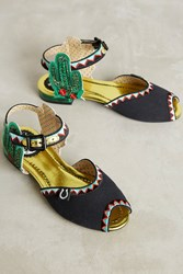 Anthropologie Miss L Fire Serape Sandals Black Motif