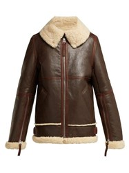 Acne Studios Aviator Shearling Jacket Dark Brown