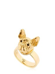 Mg Trends Gold Plated Silver French Bulldog Ring