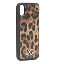 Dolce And Gabbana Printed Leather Iphone X Case Brown