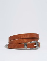 Pieces Skinny Western Belt Cognac Tan