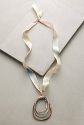 Anthropologie Marbled Metals Pendant Necklace Peach