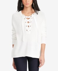 Polo Ralph Lauren Lace Up Sweater White