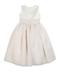 Joan Calabrese Satin And Organza Beaded Dress Size 2 14 White Pink