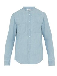 Hope Rick Band Collar Cotton Chambray Shirt Blue