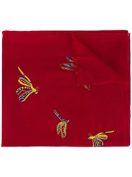 Janavi Beaded Butterfly Scarf Red