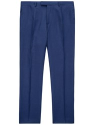 Jaeger Silk Linen Regular Fit Suit Trousers Blue